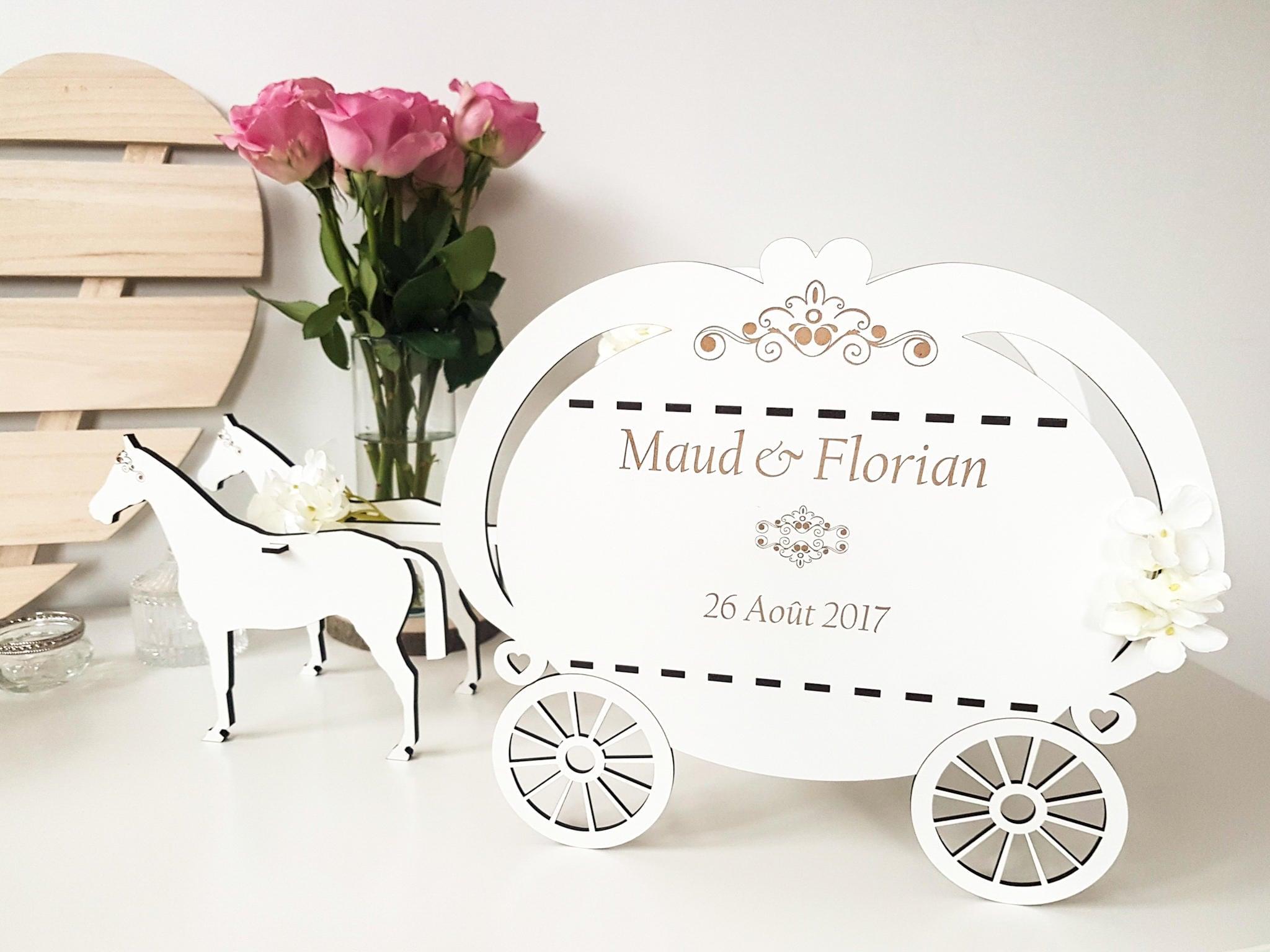 Wedding card box coach with white horses romantic wedding