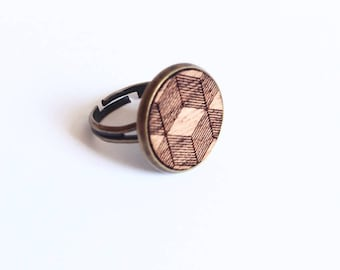 "Ring ""Ema"" mahogany wood - 3D - large format patterns"