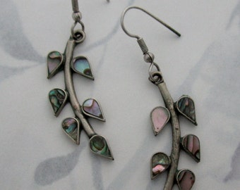 vintage abalone in silver dangle drop leaf charms pierced earrings - j6389