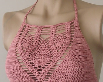 Crochet Top, Rose Color Bustier, Women Bikini Top, Swimwear Top, Beach Wear,  2017 Summer Trends !!! FORMALHOUSE