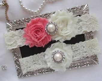 Coral/Ivory Lace Garter Wedding Garter Set/ Bridal Garter Set.