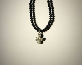 Black Glass Beaded Cross Choker