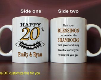 20th Anniversary Gifts - Gifts for Anniversary Personalized - 20 Years Anniversary Gifts for Couples - Anniversary Gift Ideas - Mug,  MAC008