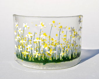 Handcrafted Fused Glass Art- Daisy Curve