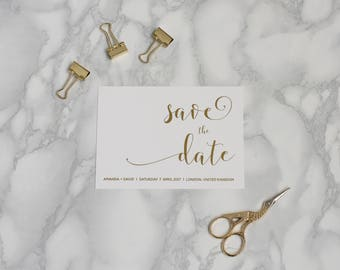 Elegant Gold Save the Date - Gold Foil Save the Date - Modern Metallic Save the Date - Formal Save the Date - Wedding Save the Date