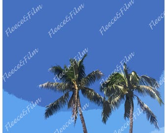 Artist Signed Photo Print ' Blue Palms ' - Hawaiian Collection Photography 12 X 18 inches
