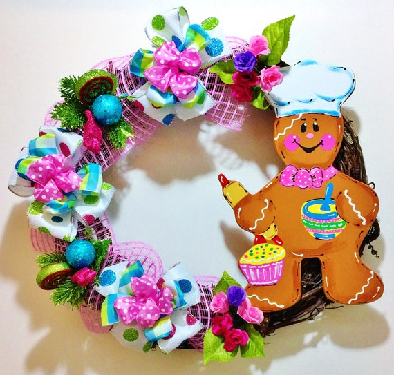Ginger Bread Baker Man - Welcome Door Grapevine Wreath