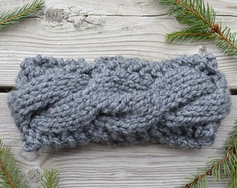 Women's Chunky Knit Cable Stitch Headband in Grey