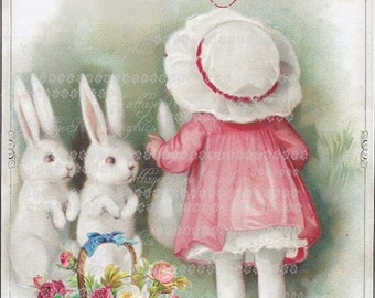 Vintage French Easter Joyoues Bunnies card Large digital download ECS buy 3 get one free romantic cottage single image rdtt svfteam