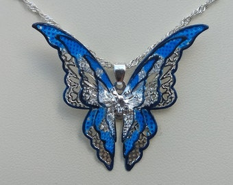 Light Blue & Dark Blue Multi Layered Butterfly Necklace