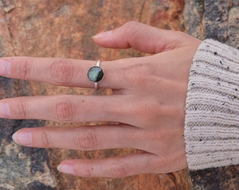 Round Rose Cut Green Labradorite Ring