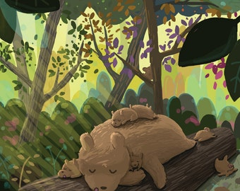 Sleepy Forest Bears Greeting Card