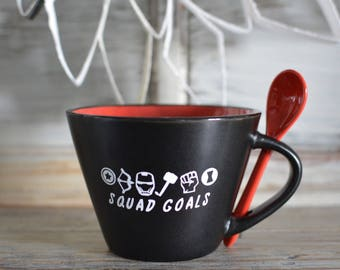 Avengers Inspired Ceramic Mug/Spoon - Black with Red Interior and Spoon