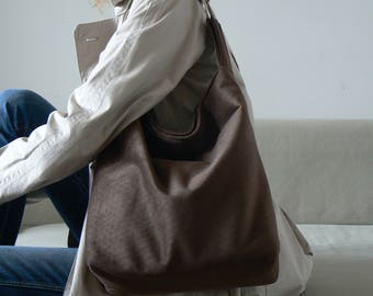 Brown tote bag, brown large bag for autumn