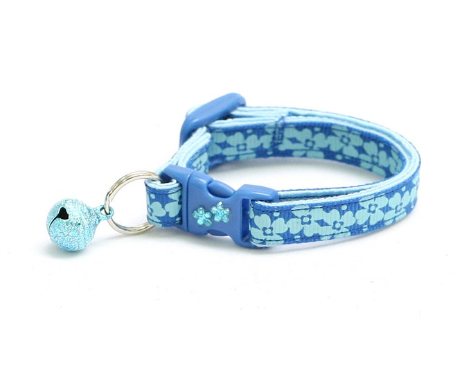 Floral Cat Collar - Blue Flowers - Kitten or Large Size