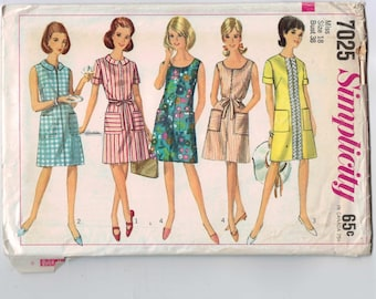 Vintage 1960s Sewing Pattern Simplicity 7025 Womens Shift Dress with Pockets Tie Belt Size 18 Bust 38 1967 60s UNCUT
