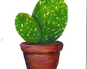 Little Potted Cactus - Hand-painted Card 4.2x5.5 in - Original Art