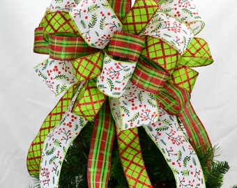 White Christmas Tree Topper Bow - Christmas Tree Bow Topper - Lime Green Tree Bow - Big Bow for Top of Christmas Tree
