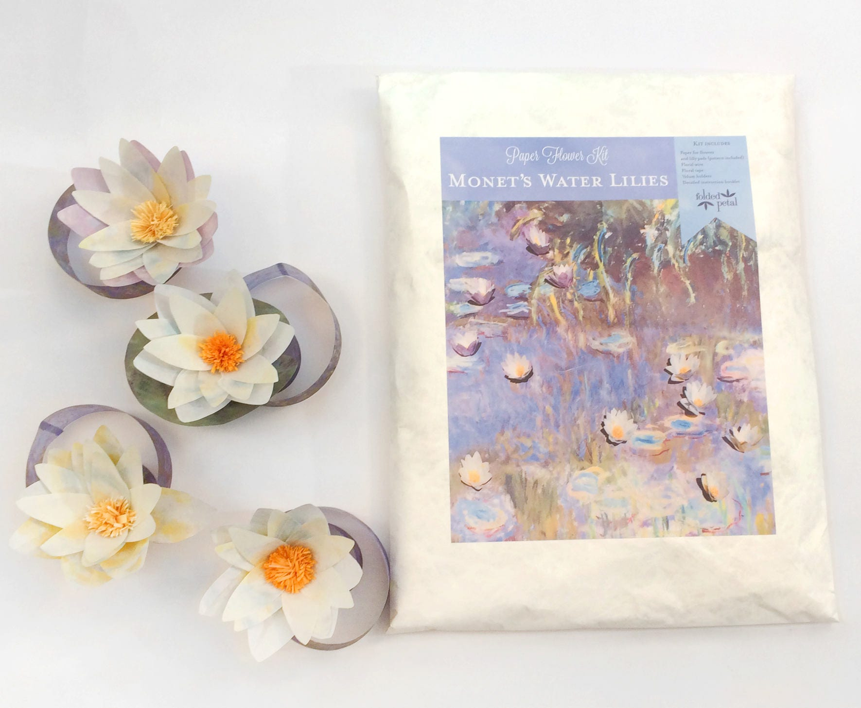 Paper Flower Kit Monets Water Lilies Includes Paper For
