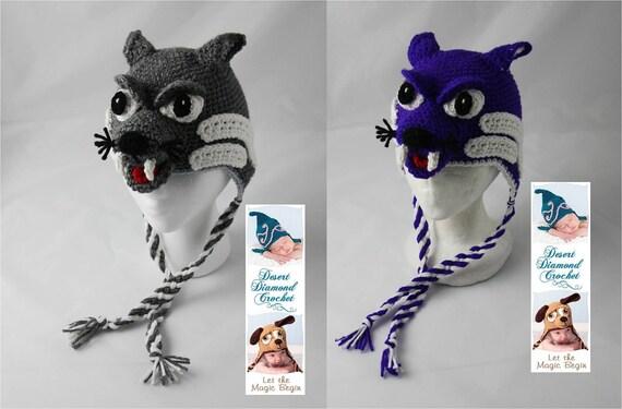 Crochet Pattern 064 - KSU Kansas State University Wildcat Hat - All Sizes