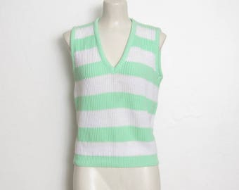 Vintage Sweater Vest / Mint Green & White Striped Acrylic Knit / KnitWaves 80s Sleeveless V-Neck Pullover