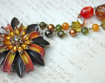 Vintage Enamel Flower and Rhinestone Necklace -- Autumn Colors -- OOAK -- JaelDesigns