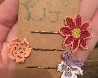 Dainty handmade crochet flower hair grips