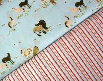 SALE - Half-Yard Bundle of 2 - Ponies in Sky and Stripes in Blue and Orange by Heather Ross for Lightning Bugs and West Hill Collections