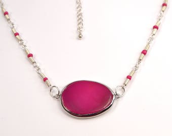 Pink Agate Slab Necklace, Pink Bead Necklace, Silver Coil Bead Necklace, Pretty In Pink Necklace, Pink Stone Necklace (N66)