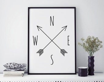 Top seller, compass wall art prints, minimalist poster, minimalist art, compass print, best selling art, home decor, scandinavian modern art