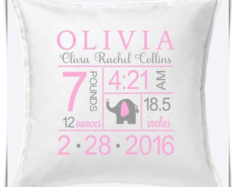Birth Announcement Pillow. Newborn Gift Pillow. Baby Pillow Cover. Girls, Boys Birth Announcement. Custom Baby Pillow