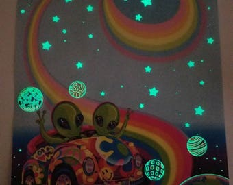 Lisa Frank Glow in the Dark Alien Stationery Sheet 90's RARE Vintage Zoomer and Zorbit VW Bug In Space GID