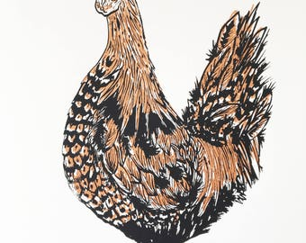 Black and Bronze Chicken - ORIGINAL SCREEN PRINT