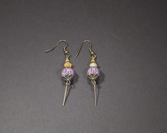 Pearl Earrings with glass beads, filigree earrings, purple/yellow, Bohemian, handmade