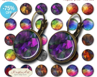 75% OFF SALE Triangular Abstraction - 18mm, 16mm, 14mm, 12mm, 10mm Circles Digital Collage Sheets E-012 Printable Earring, Rings, Jewelry