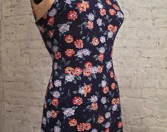 Grunge Dress - 80s/90s - Blue Floral Print Sundress
