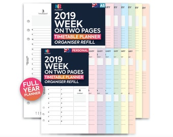 PRINTED 2019 Week on two pages appointments organiser Insert A5 / Personal Filofax A5 Kikki.K Large Compatible Refill Coloured WO2P