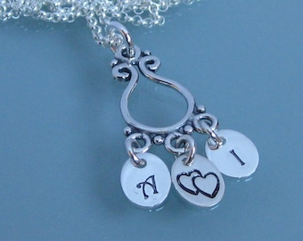 Family initial necklace- sterling silver stamped charm necklace