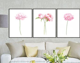 Set of 3 Peony art print peony watercolor painting, Flower painting, Floral art print, Botanical art