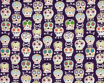 Sugar Skulls, Purple Bonehead in Amethyst - Michael Miller cotton quilt fabric -  HALF YARD - SALE