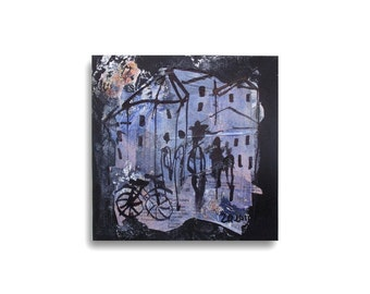 Town Original Drawing on Collage / black Canvas / black blue - free shiping