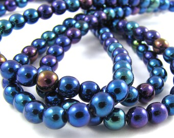 Blue Iris 6mm Smooth Round Czech Glass Beads 50pc #288