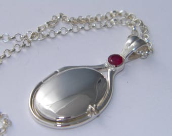 New Hand Made Handcrafted 925 Sterling Silver 4mm Natural Ruby Locket H2O Mermaids Necklace