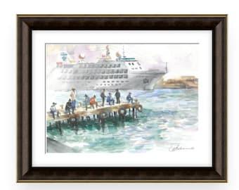 Fishermen, Wonderful Watercolor,Amazing watercolor, easel watercolor,drawing watercolor, recognized master,Original painting, Victor Zelik