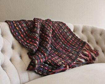 Blanket with fringes, Throw afghan, Home decor, Decor throw, Brown throw blanke, Rustic decor, End bed blankett, Housewarming gift