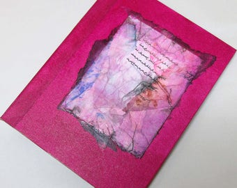 Handmade Journal Refillable Script pink tissue 9x7 Original traveller notebook fauxdori