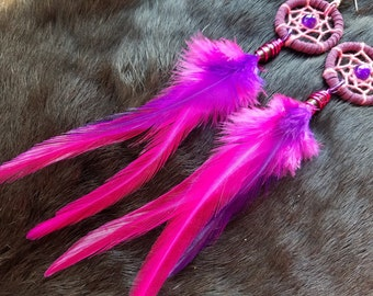 Dream Catcher Earrings Pink and Purple Feather  - Size Medium