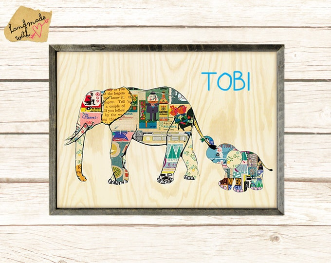 Cute personalized Elephant with Name on wooden background Collage Print