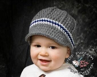 Crochet hat pattern, Newsboy hat pattern, crochet hat pattern, Permission to sell, newborn, infant, mens newsboy hat, crochet cap pattern,