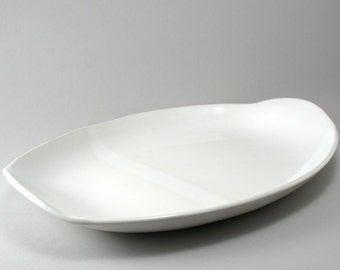 Serving Platter-Large Oval-Pottery- Handmade Tableware-Stoneware-Tray-Ceramic Platter-White